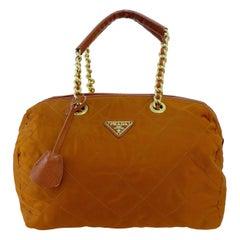 PRADA Rust Nylon Tote Bag