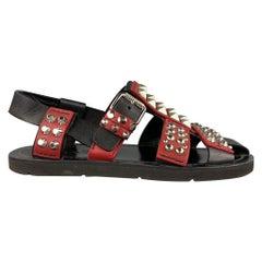 PRADA S/S 18 Size 8 Black & Burgundy Studded Leather Gladiator Sandals