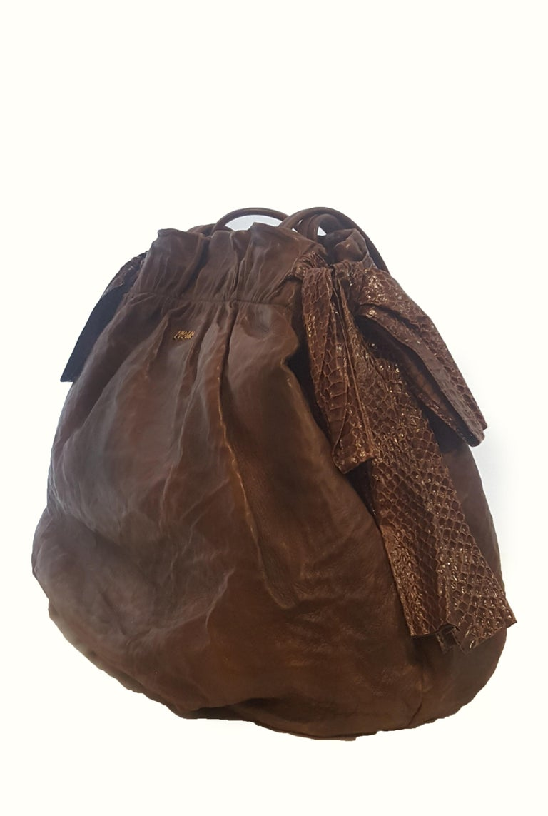 c18ca1668e6f Prada Sabbia Nappa large antique bow satchel in brown, is a beautiful bag  with signature