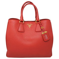 Prada Sacca 2 Mancini Convertible Red Large Tote Bag in Box