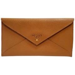 Prada Saffiano Caramel Leather Envelope Clutch Handbag