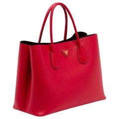 Prada Saffiano Cuir Double Bag, Red (Fuoco), Brand New