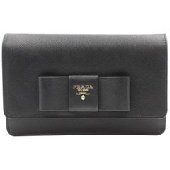 Prada Saffiano Galleria Black Leather Cross body Ladies Bag 1BH009 F0002