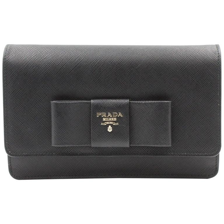 Prada Saffiano Galleria Black Leather Cross body Ladies Bag 1BH009 F0002 For Sale