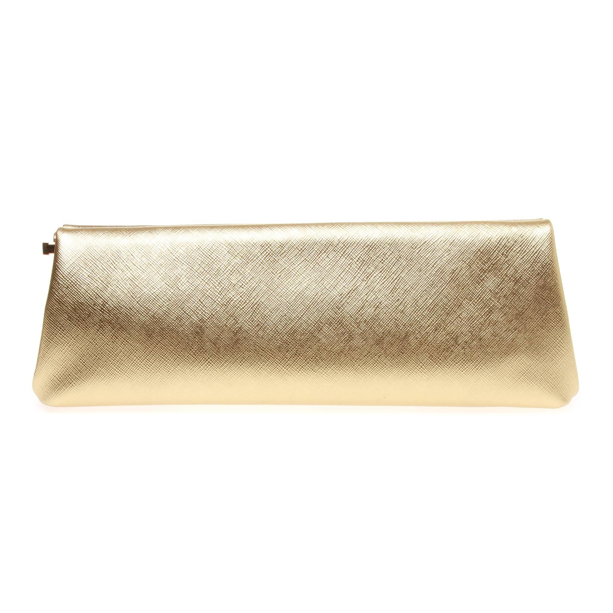 1stdibs Prada Saffiano Gold Metallic Lux Frame Clutch 1DABQPp