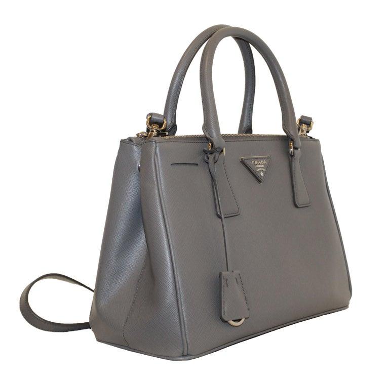 586dba1daf32 Prada Saffiano Grey Leather Tote Top Handle Bag W/ Detachable Shoulder  Strap For Sale