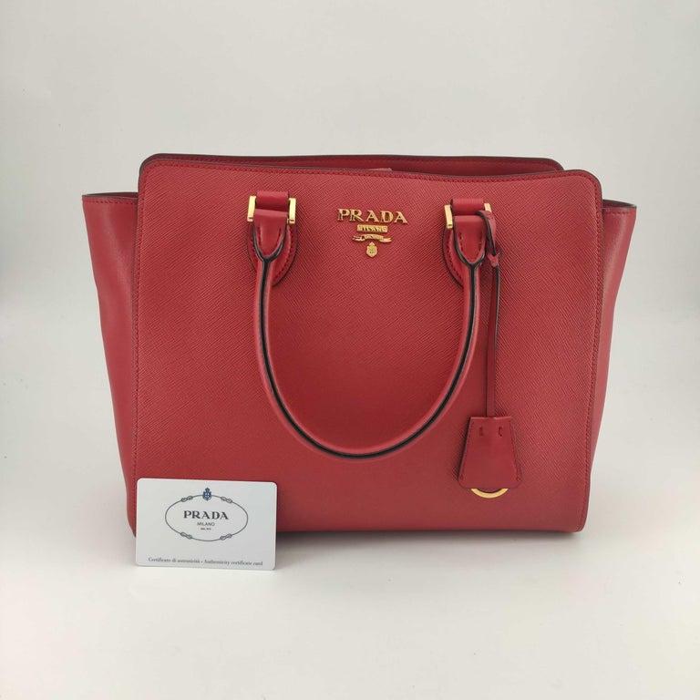 PRADA Saffiano Handbag in Red Leather For Sale 8