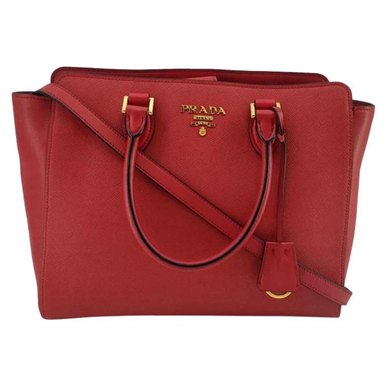 PRADA Saffiano Handbag in Red Leather For Sale
