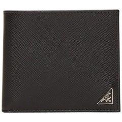 Prada Saffiano Leather Black Triangle Logo Wallet