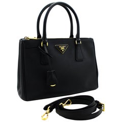 PRADA Saffiano Lux 2 Way Shoulder Bag Handbag Leather Black