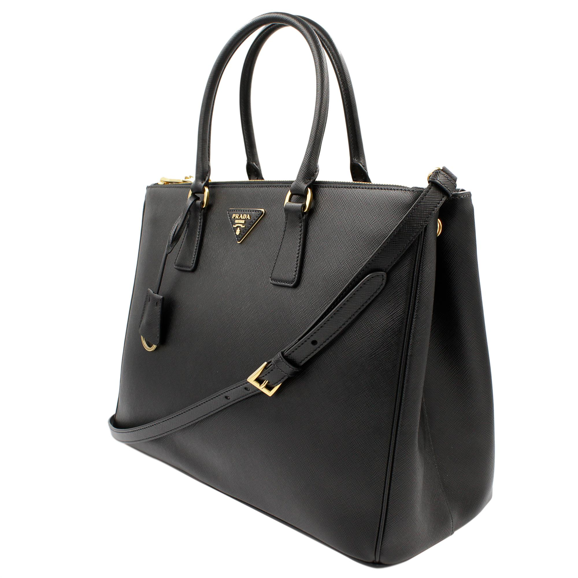 fa60317e98ee PRADA Saffiano Lux Galleria Black Leather Ladies Tote 1BA786NZV For Sale at  1stdibs