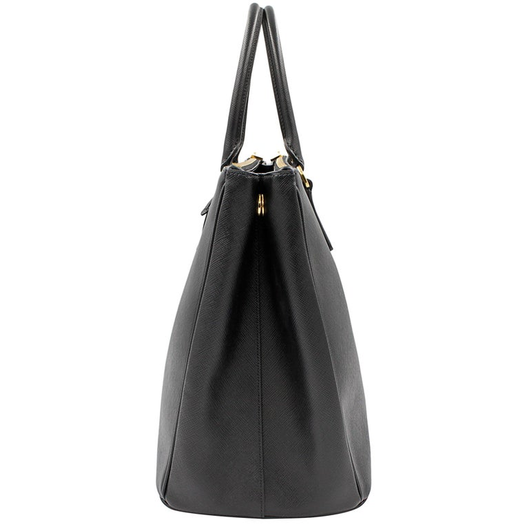 PRADA Saffiano Lux Galleria Black Leather Ladies Tote 1BA786NZV For Sale 1
