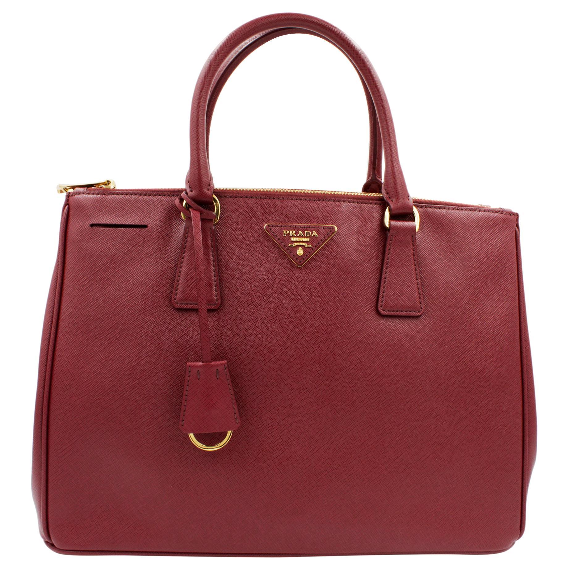 PRADA Saffiano Lux Galleria Cherry Leather Womens Convertible Tote Bag 1BA274