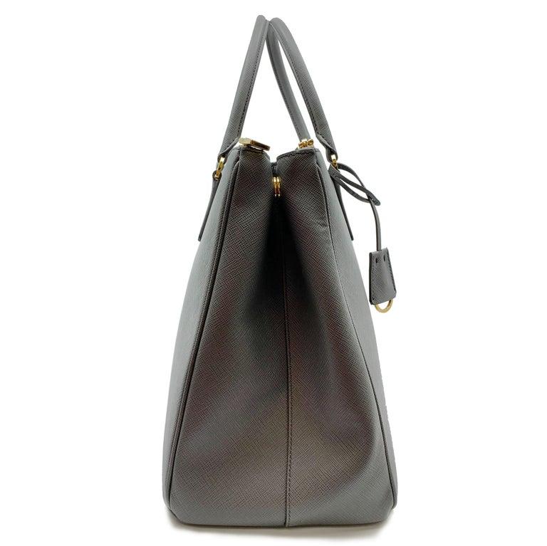 Women's PRADA Saffiano Lux Galleria Gray Leather Ladies Tote 1BA786NZV For Sale