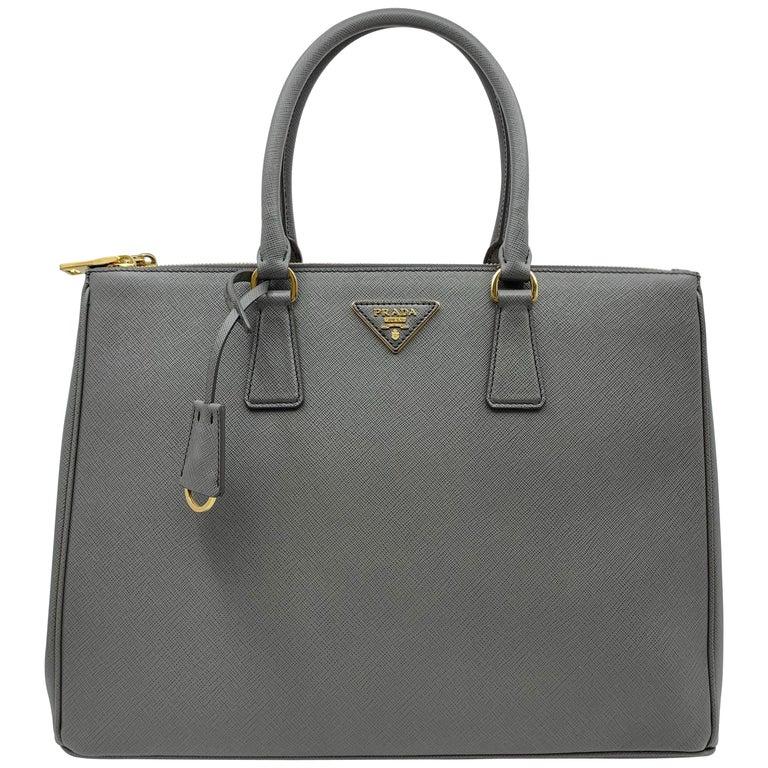 PRADA Saffiano Lux Galleria Gray Leather Ladies Tote 1BA786NZV For Sale