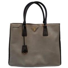 Prada Saffiano Lux Gray Bicolor Tote Handbag