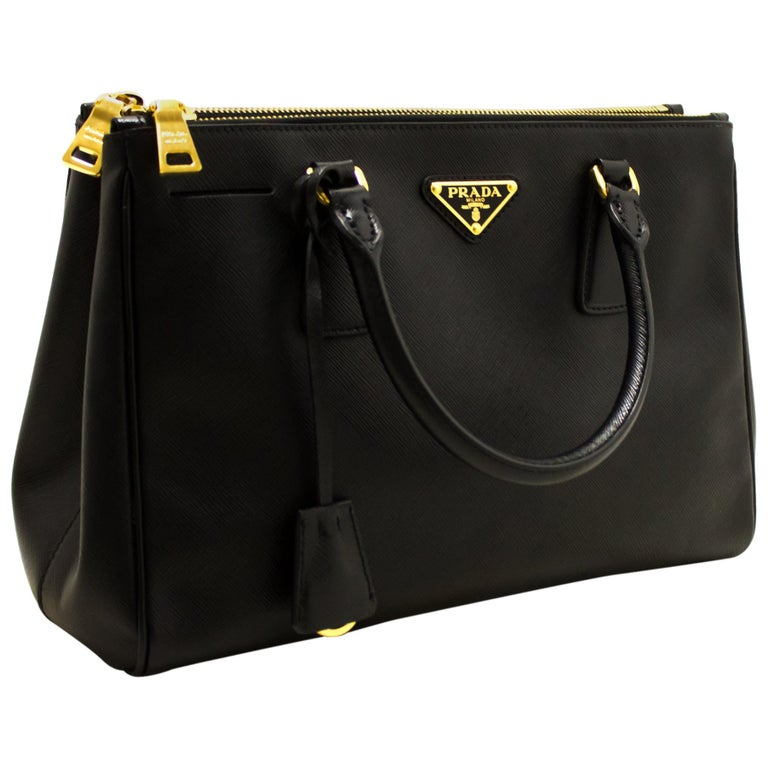 058586476e PRADA Saffiano Lux Handbag Leather Black Gold Hardware Calfskin For Sale