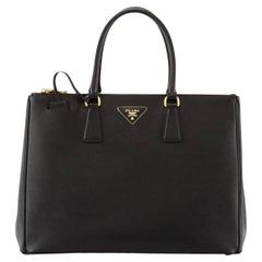 Prada Saffiano Medium Executive Tote Bag, Black (Nero), Double Zip Tote Bag