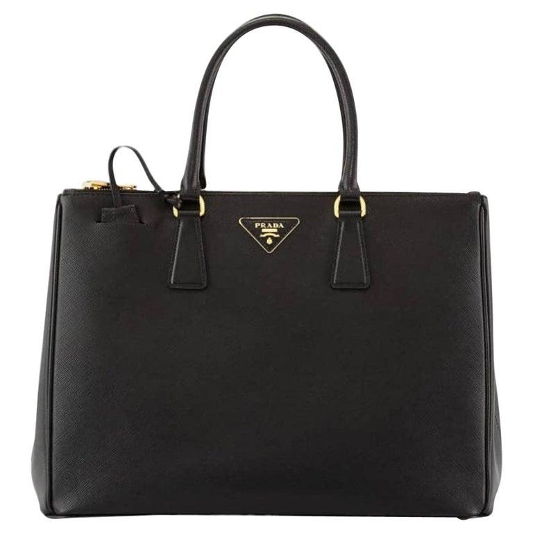 Prada Saffiano Medium Executive Tote Bag, Black (Nero), Double Zip Tote Bag  For Sale