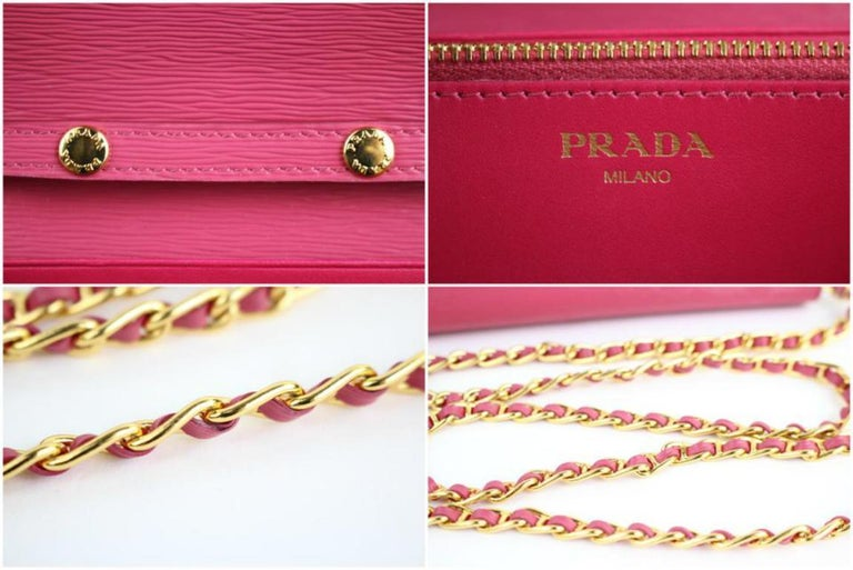 e5736c550bd7bc Prada Saffiano Metal Wallet On Chain Clutch 4pt916 Pink Leather Cross Body  Bag In Excellent Condition