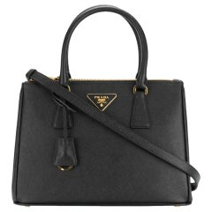 Prada Saffiano Small  Executive Tote Bag, Black (Nero), Double Zip Tote Bag