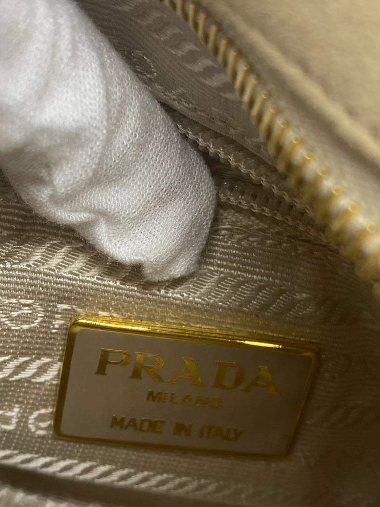 Prada Sand Suede Leather Vintage Mini Crossbody Bag, 2005. For Sale 5