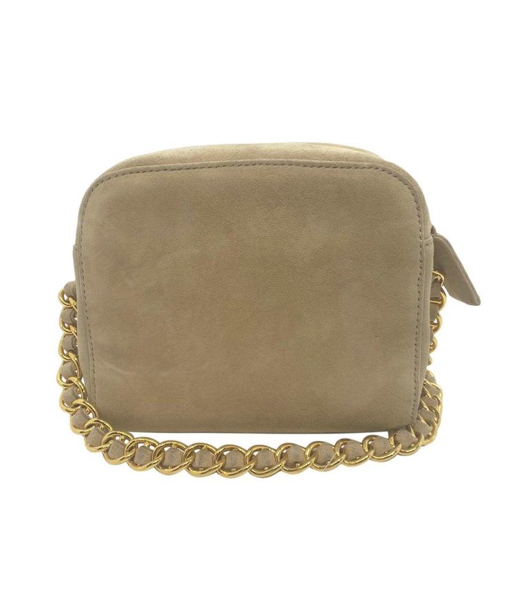 Brown Prada Sand Suede Leather Vintage Mini Crossbody Bag, 2005. For Sale