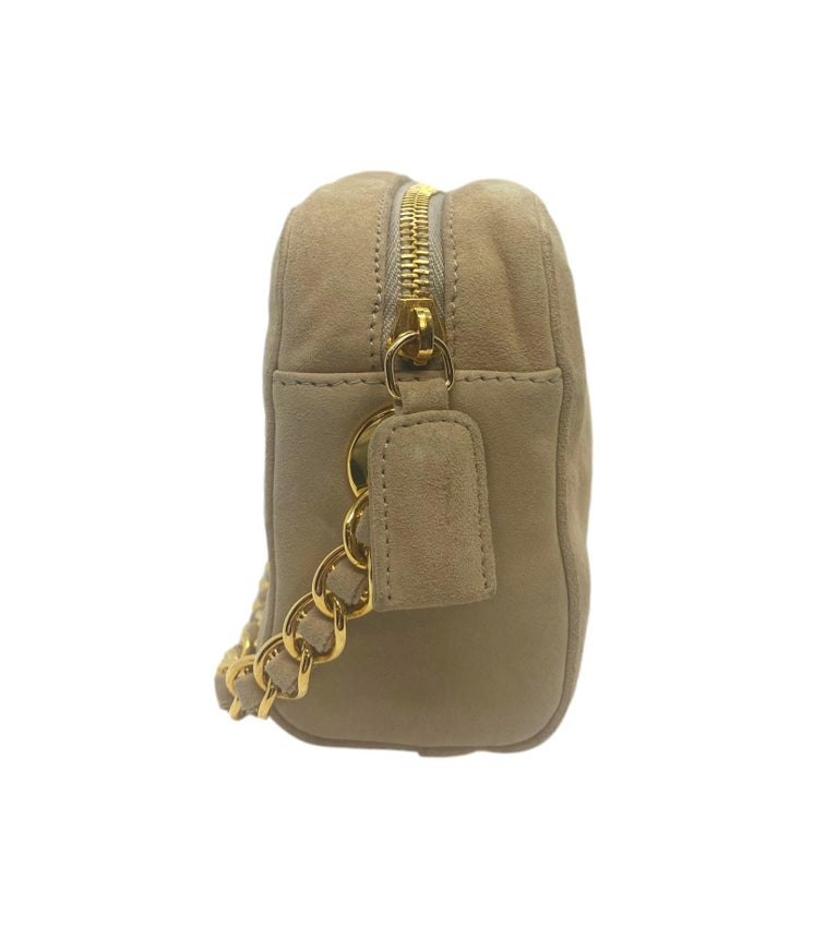 Prada Sand Suede Leather Vintage Mini Crossbody Bag, 2005. In Good Condition For Sale In Banner Elk, NC