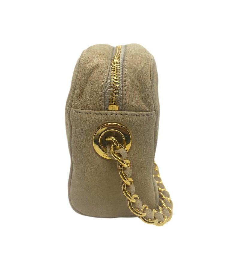 Women's or Men's Prada Sand Suede Leather Vintage Mini Crossbody Bag, 2005. For Sale