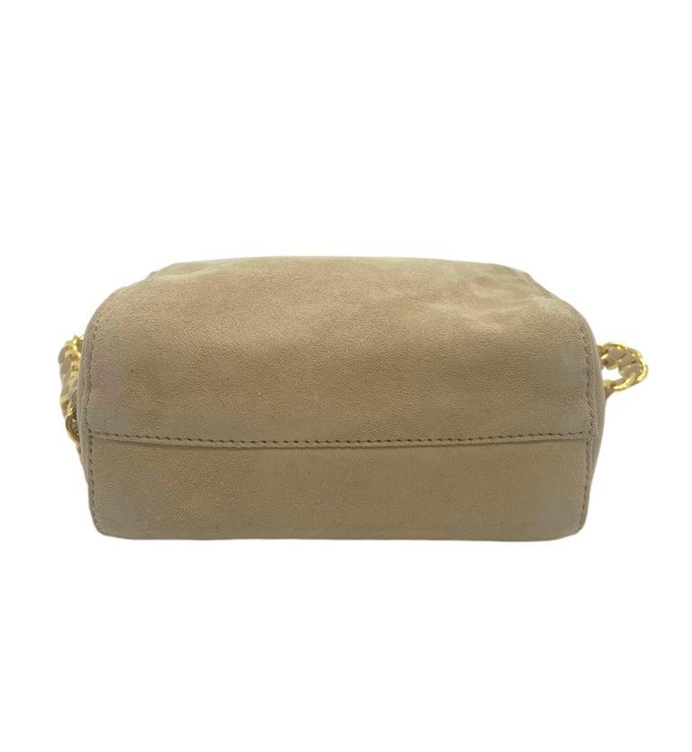 Prada Sand Suede Leather Vintage Mini Crossbody Bag, 2005. For Sale 2