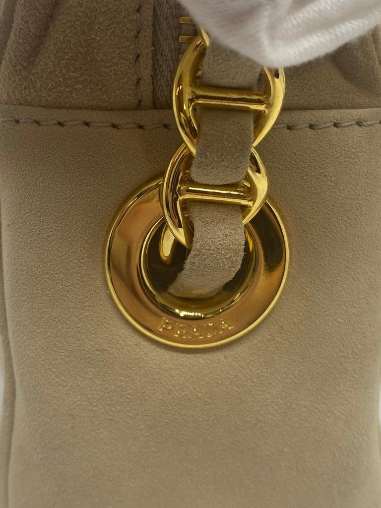 Prada Sand Suede Leather Vintage Mini Crossbody Bag, 2005. For Sale 3