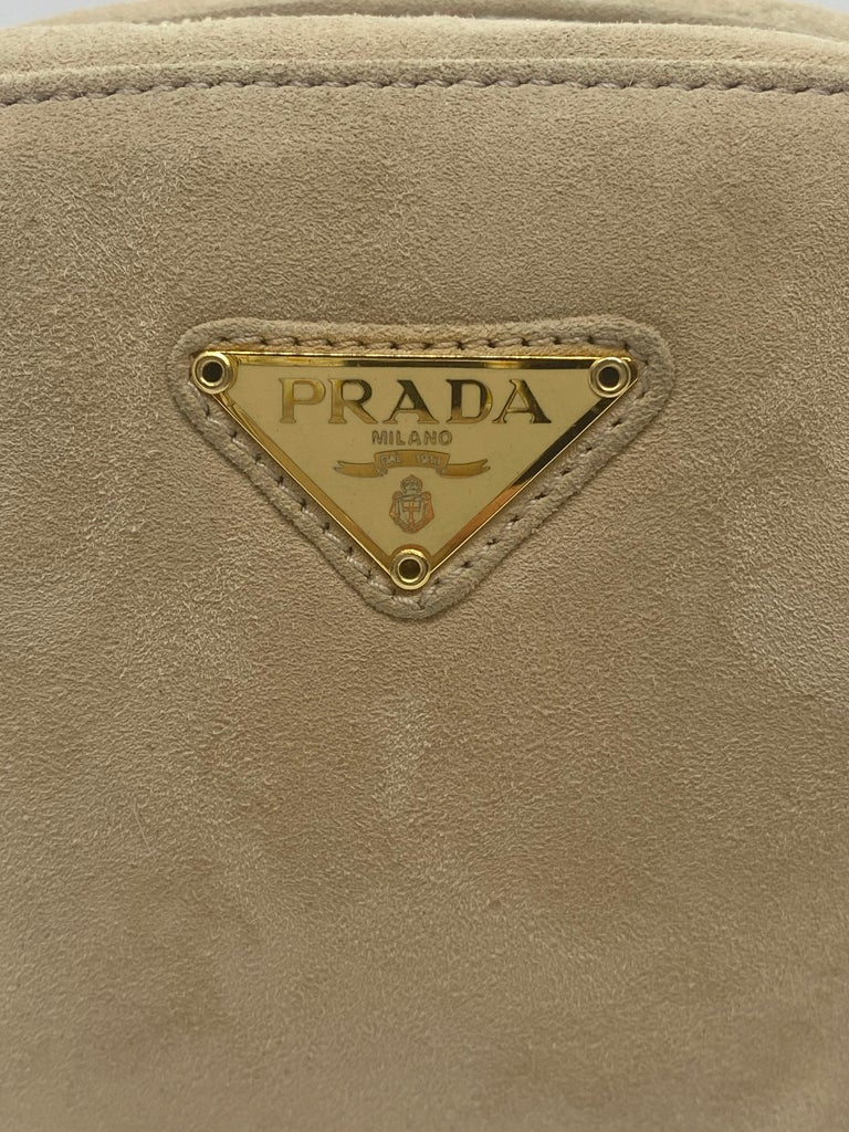 Prada Sand Suede Leather Vintage Mini Crossbody Bag, 2005. For Sale 4