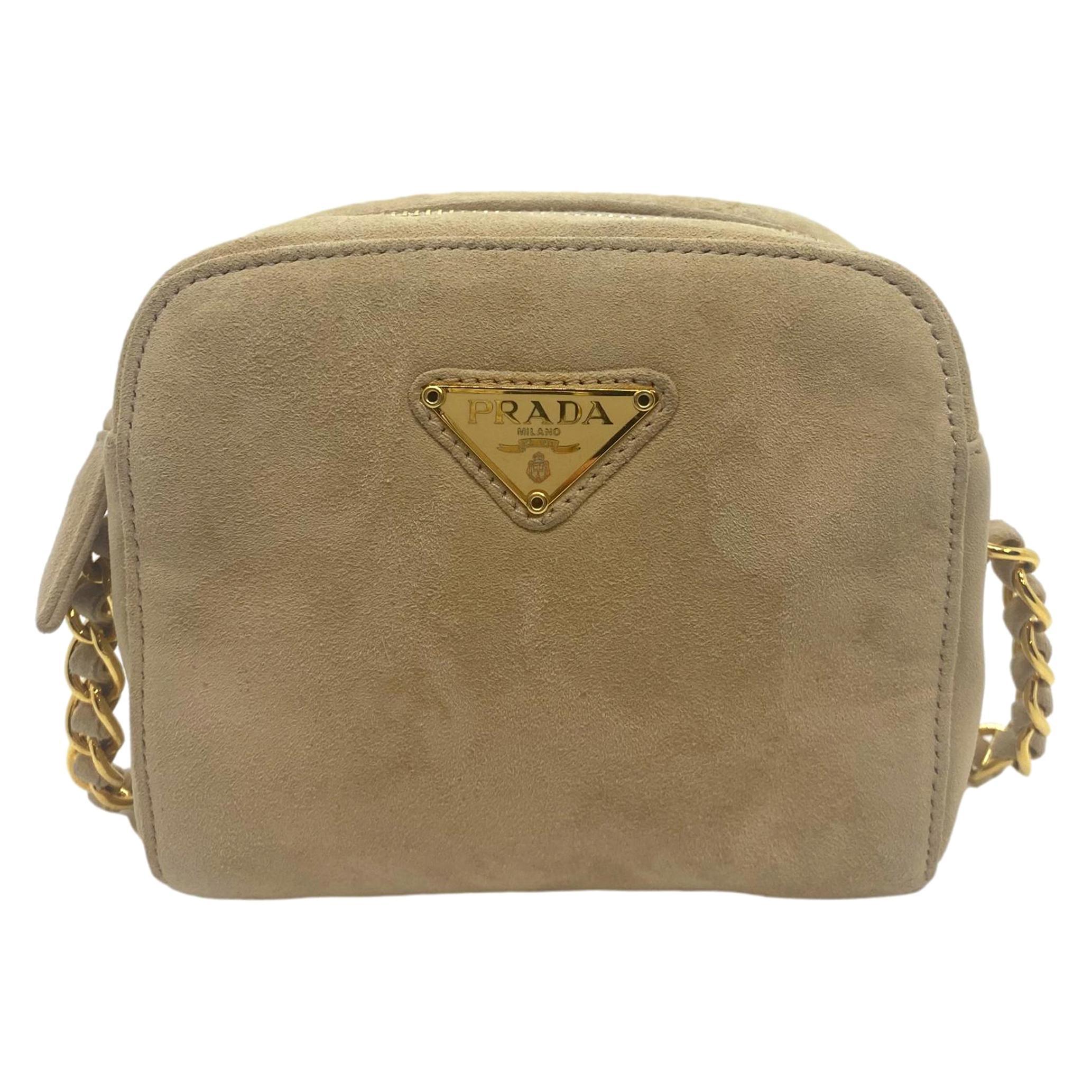 Prada Sand Suede Leather Vintage Mini Crossbody Bag, 2005.