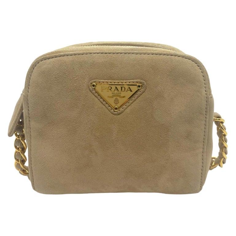 Prada Sand Suede Leather Vintage Mini Crossbody Bag, 2005. For Sale