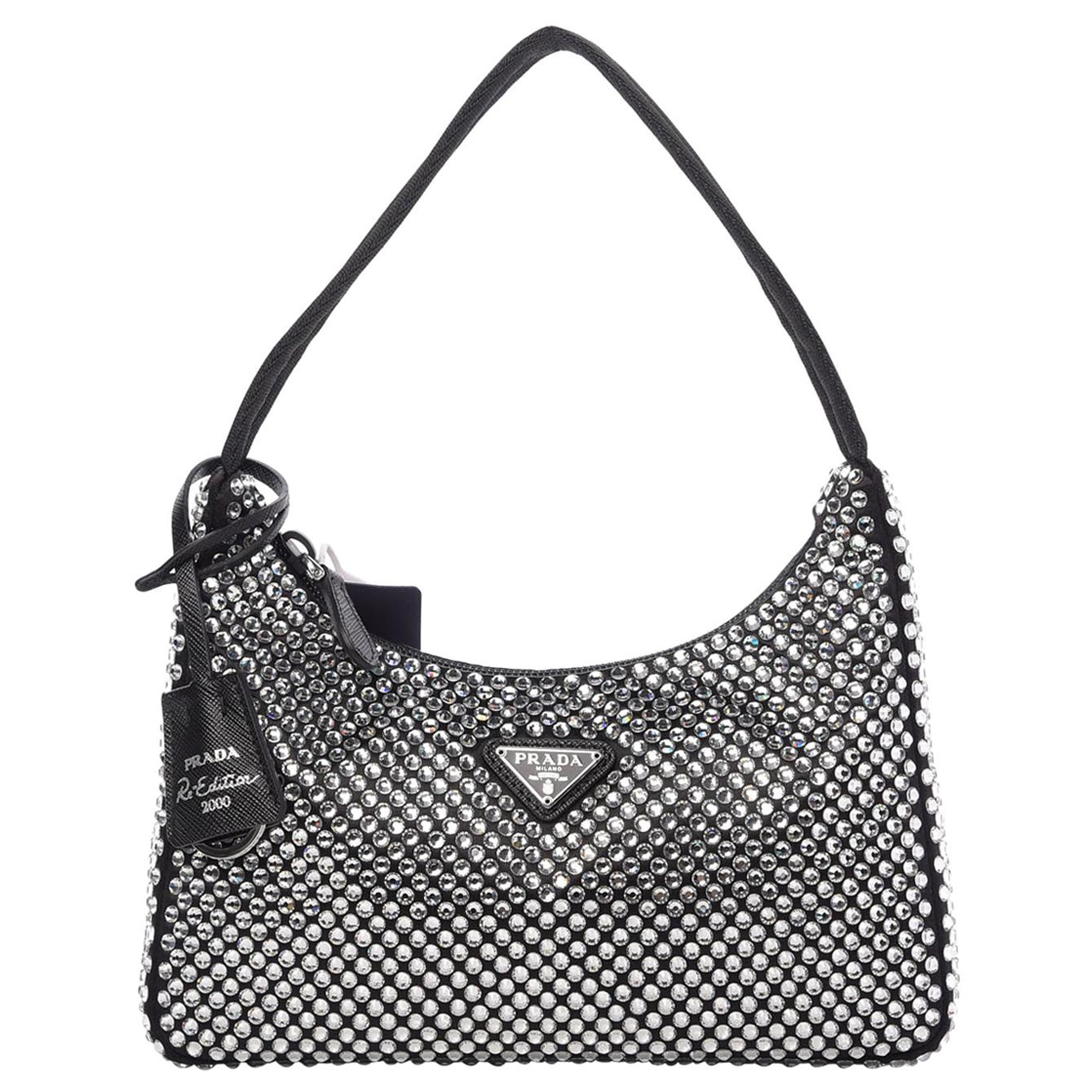 PRADA Satin Crystal Mini Re-Edition 2000 Bag Black Sold out in Boutiques