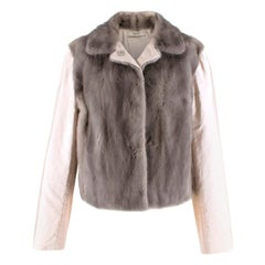Prada Satin & Mink Fur Paneled Jacket 44