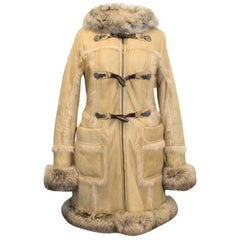 Prada Sheep And Fox Fur Leather Hooded Coat - Size US 8