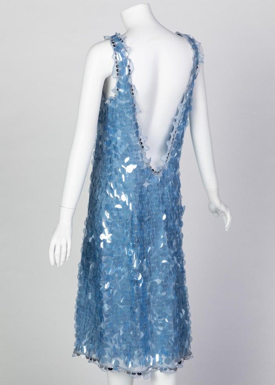 Women's Prada Shimmering Blue Silk Paillette Plunge Back Dress, 2012 For Sale