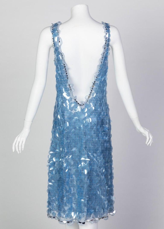 Prada Shimmering Blue Silk Paillette Plunge Back Dress, 2012 For Sale 1