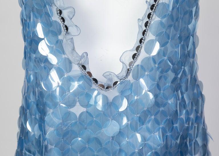 Prada Shimmering Blue Silk Paillette Plunge Back Dress, 2012 For Sale 3