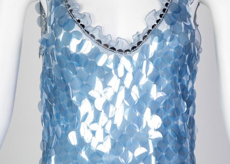 Prada Shimmering Blue Silk Paillette Plunge Back Dress, 2012 For Sale 4