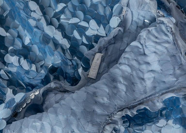 Prada Shimmering Blue Silk Paillette Plunge Back Dress, 2012 For Sale 5