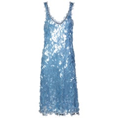 Prada Shimmering Blue Silk Paillette Plunge Back Dress, 2012