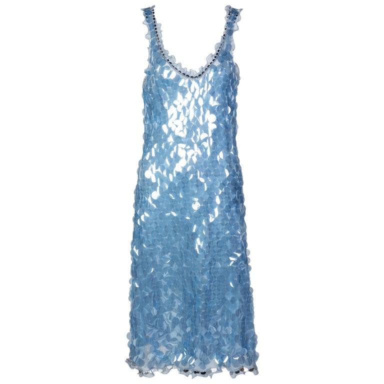 Prada Shimmering Blue Silk Paillette Plunge Back Dress, 2012 For Sale