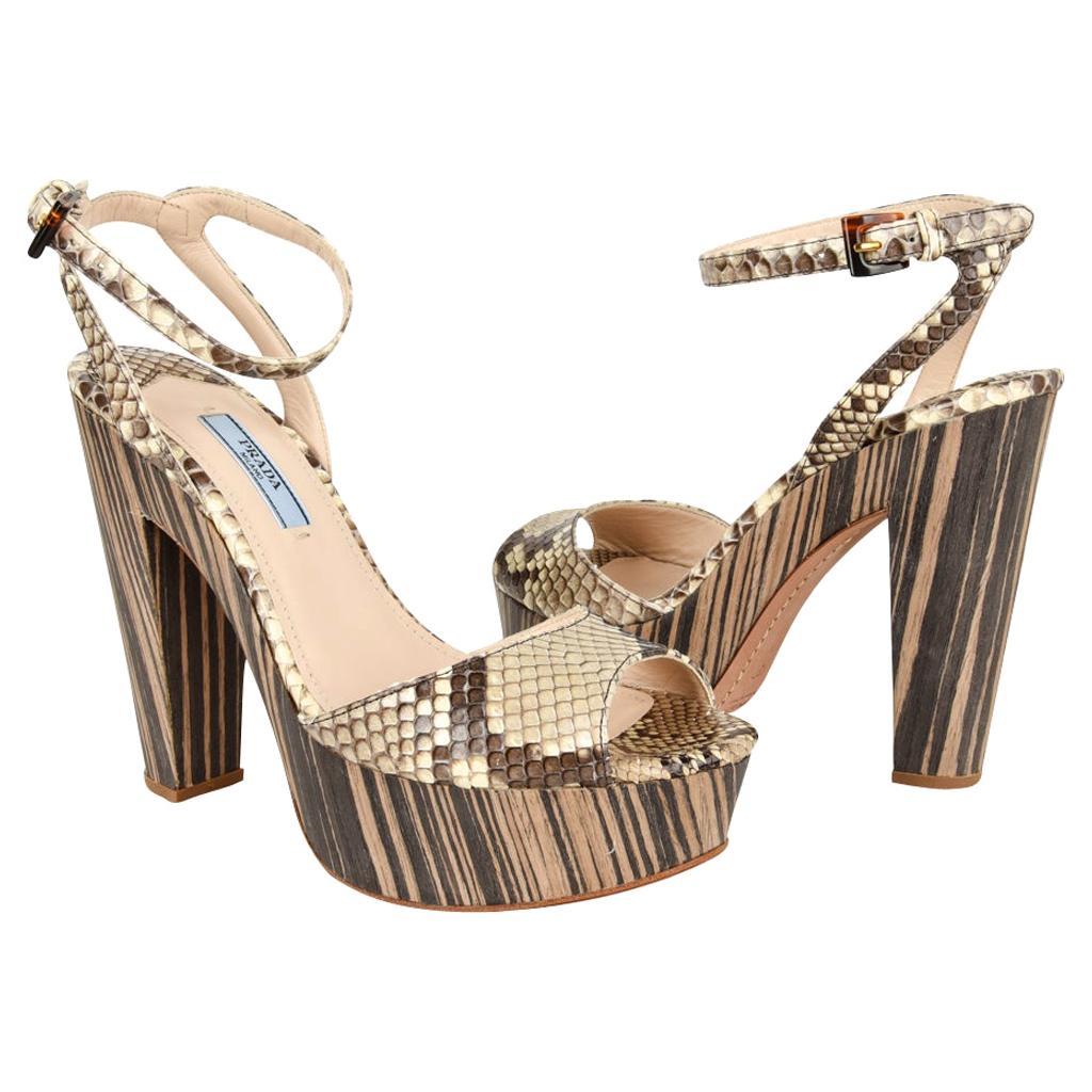 Prada Shoe Snake Ankle Strap Striking Platform 37 /  7 New w/Box