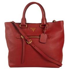 PRADA Shoulder bag in Red Leather