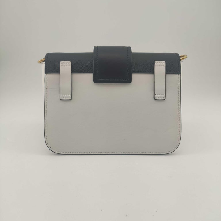 Gray PRADA Shoulder bag in White Leather For Sale