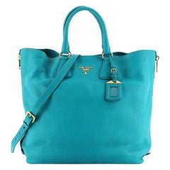 Prada Side Zip Convertible Shopper Tote Vitello Daino Large