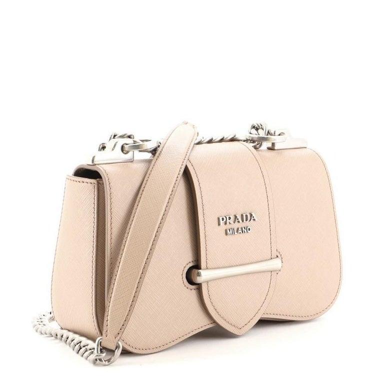 Beige Prada Sidonie Chain Shoulder Bag Saffiano Leather Medium For Sale