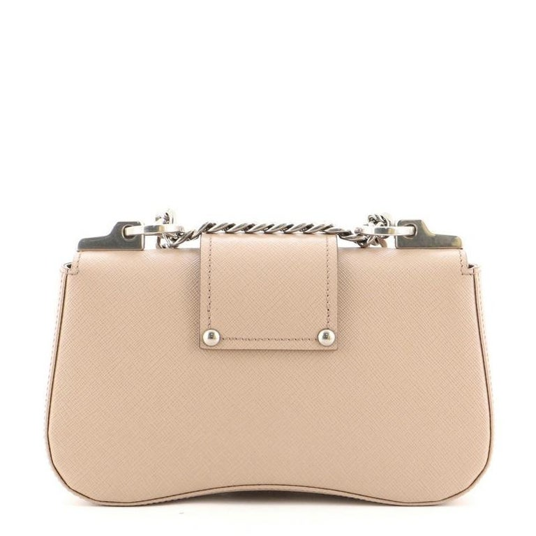 Prada Sidonie Chain Shoulder Bag Saffiano Leather Medium In Good Condition For Sale In New York, NY